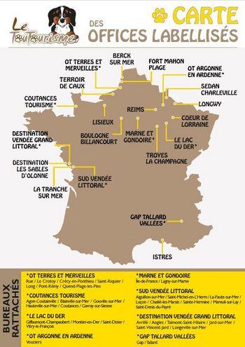 Carte des Offices de Tourisme labelisés Toutourisme