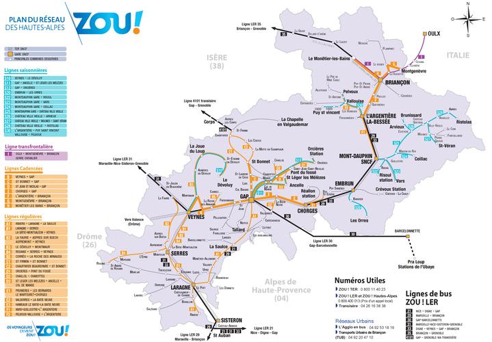 Plan des lignes de bus Hautes-Alpes